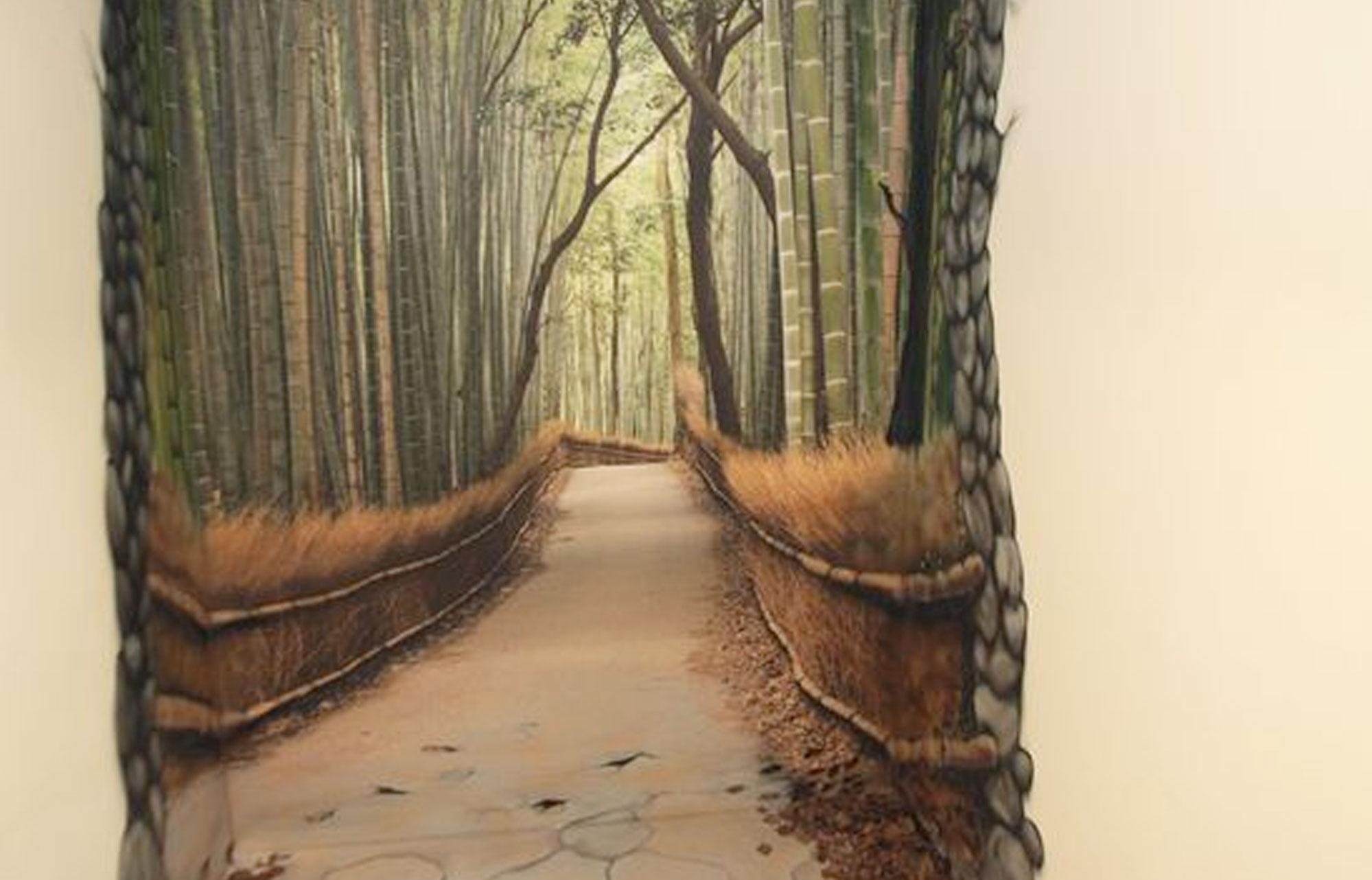 photo d'une peinture en trompe l'oeil d'un couloir profond